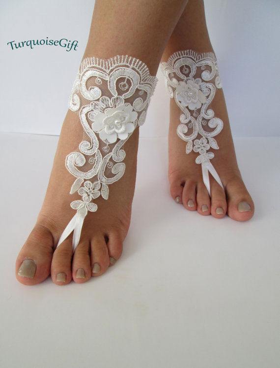 Lace Barefoot Beach Bridal Shoes