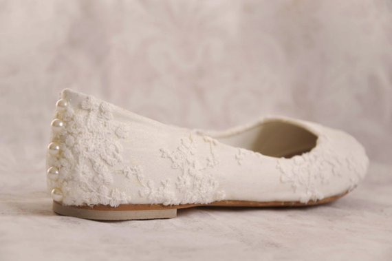 Lace and Pearl Ivory Bridal Flats