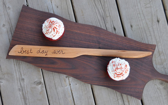 Wooden Engraved Wedding Cake and Knife Servers