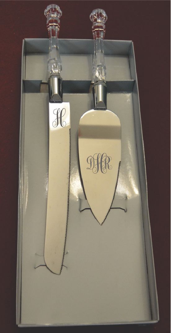 Silver Engraved Monogram Wedding Cake and Knife Servers