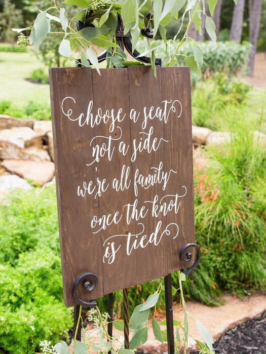 Choose A Seat Not A Side - Wooden Wedding Ceremony Sign
