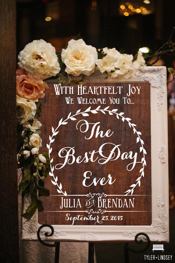 Best Day Ever Wooden Wedding Sign