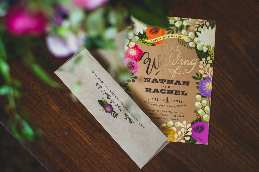 Floral Kraft Paper Wedding Invitations - A Forest Wedding Ceremony - Melissa Cervantes Photography