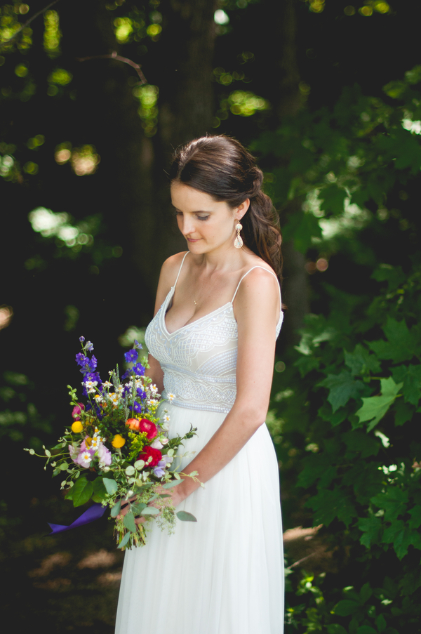 Beaded Wedding Dress - A Forest Wedding Ceremony - Melissa Cervantes Photography