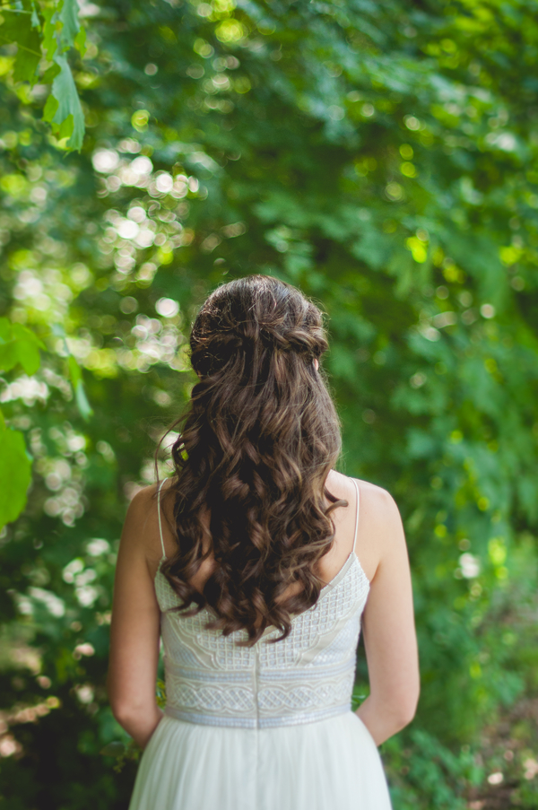 Bridal Half Up Half Down Hairstyle - A Forest Wedding Ceremony - Melissa Cervantes Photography
