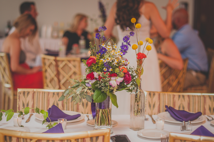 Wildflower Wedding Centerpieces - The Loft at Jefferson - Melissa Cervantes Photography