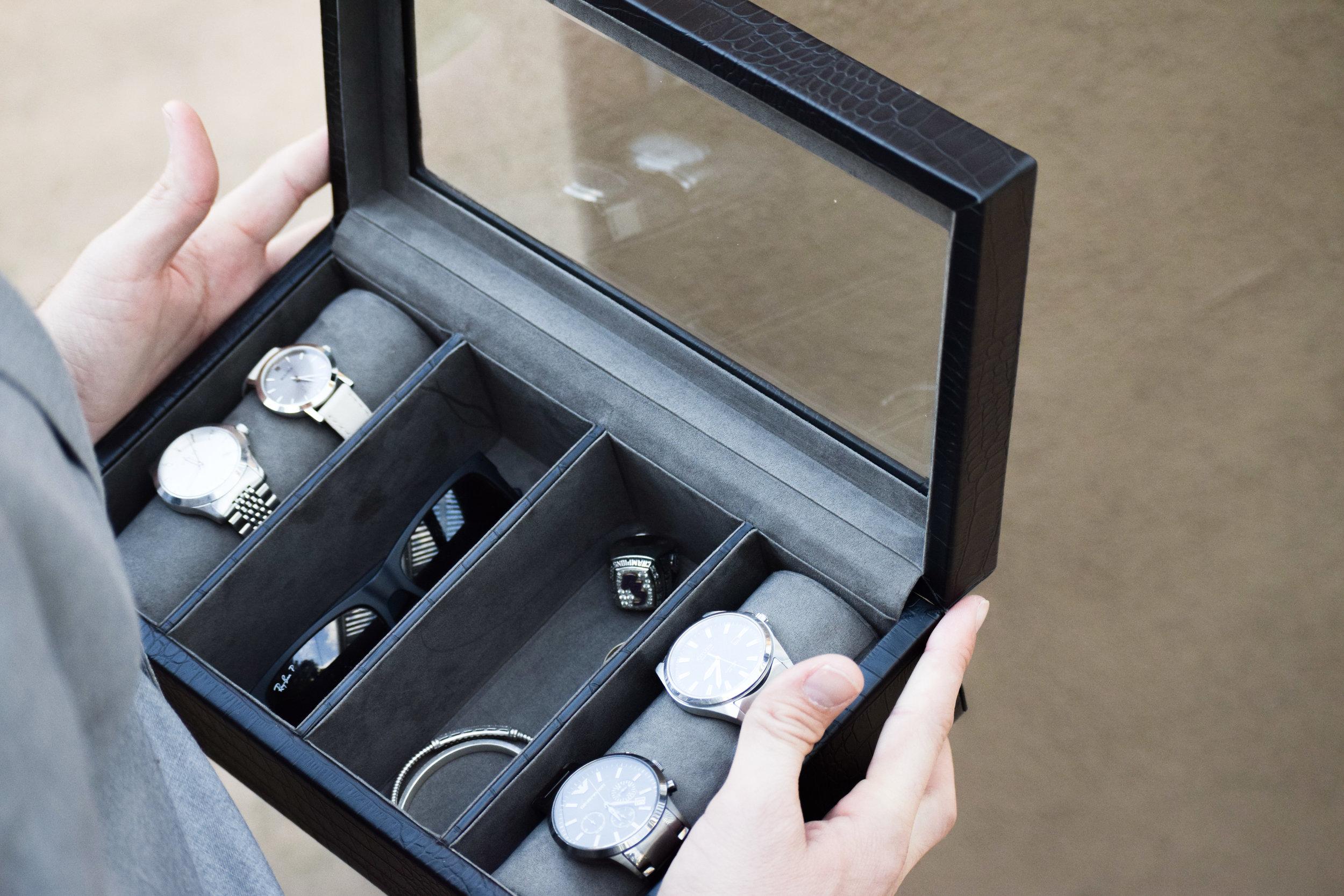 Groomsman Proposal Gift Ideas -- Engraved Groomsman Watch Box Valet Box - Things Remembered