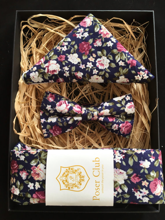 Navy Blue and Pink Floral Bow Tie - Unique Groom + Groomsman Bow Ties
