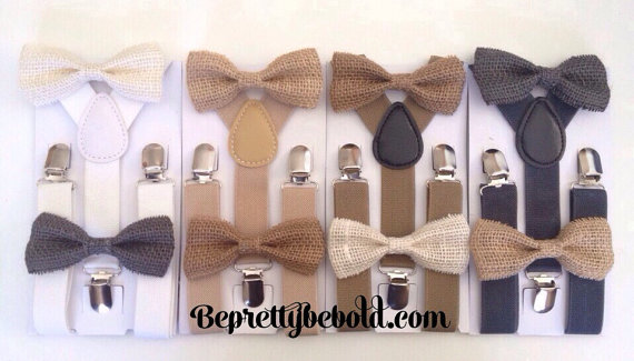 Burlap Bow Tie - Unique Groom + Groomsman Bow Ties