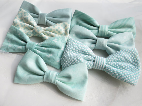 Mint Mix and Match Bow Ties - Unique Groom + Groomsman Bow Ties