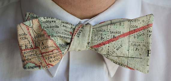 Map Print Bow Tie - Unique Groom + Groomsman Bow Ties