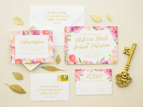 Pink and Gold Spring Wedding Invitations