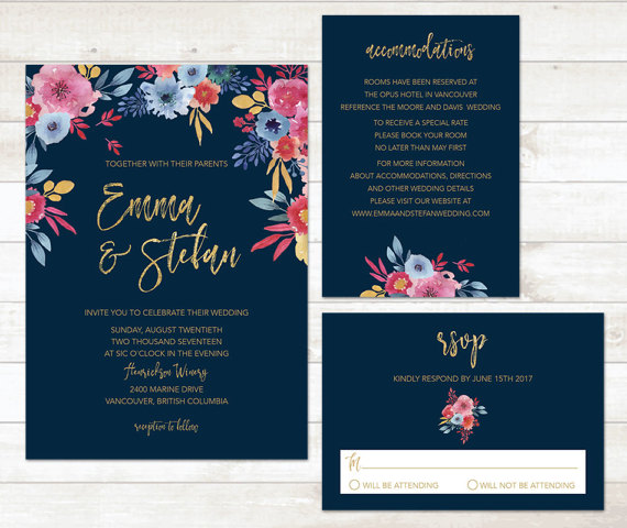 Navy and Floral Spring Wedding Invitations