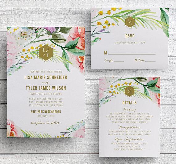 Floral Spring Wedding Invitations