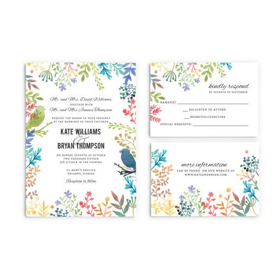 Watercolor Floral Spring Wedding Invitations