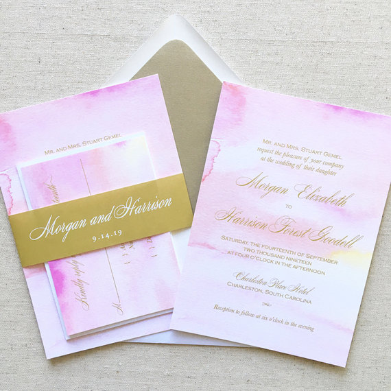 Pink and Gold Watercolor Spring Wedding Invitations