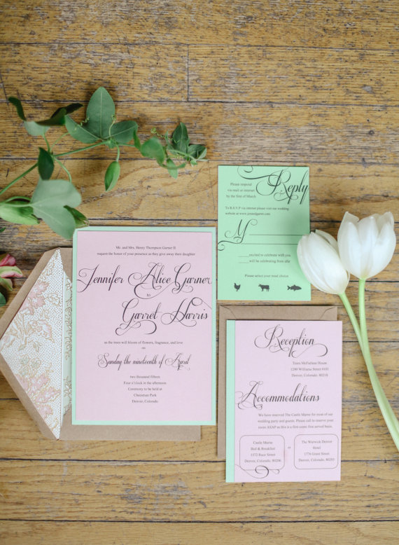 Pink and Green Spring Wedding Invitations