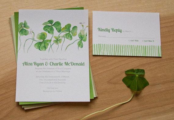 Watercolor Clover Spring Wedding Invitations