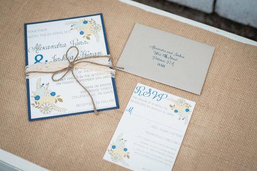 Rustic Floral Wedding Invitation Suite