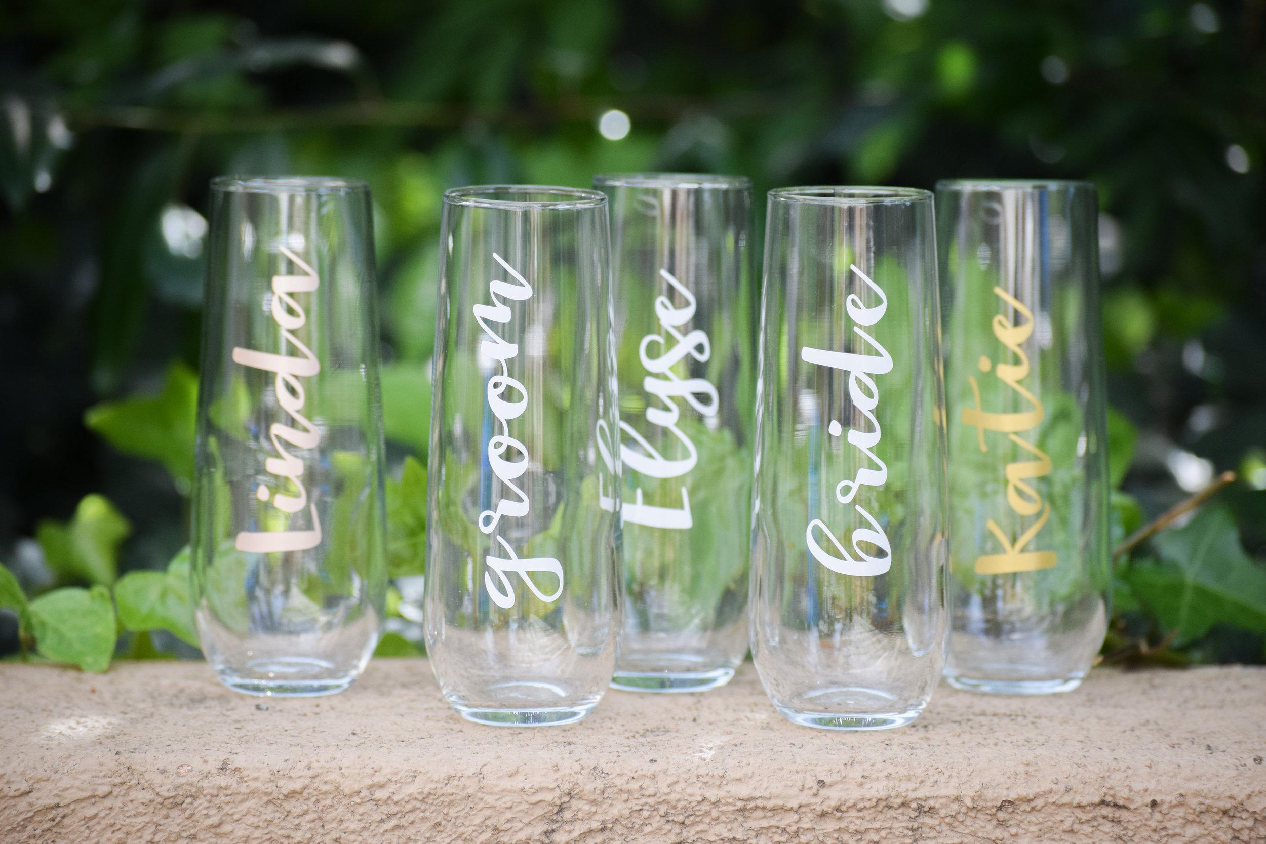 Bridesmaid Gift Idea - Kiloh + Co - Custom Stemless Bridesmaid Champagne Glasses