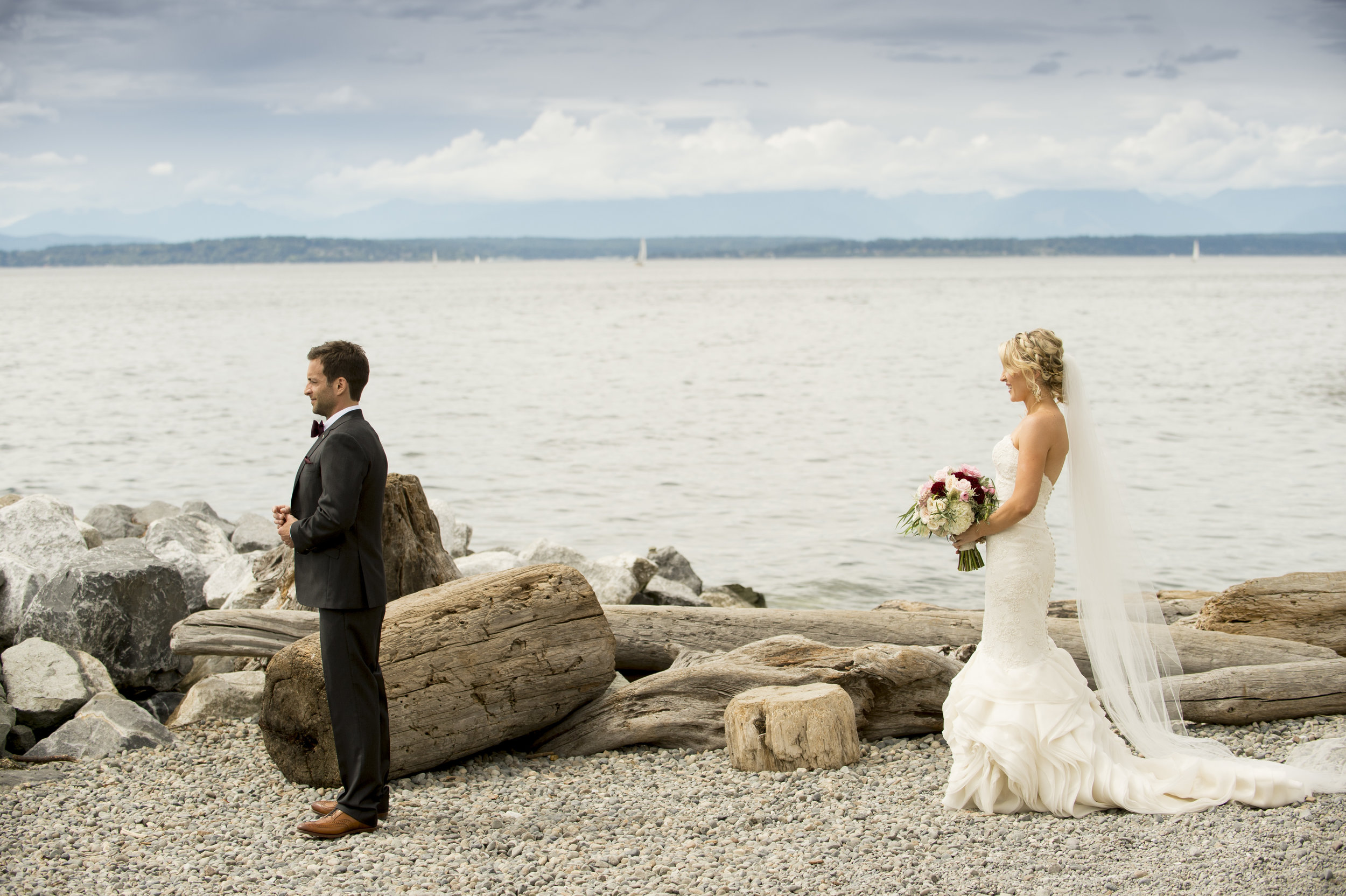 First Look Photos - A Romantic Sodo Park Seattle Wedding - Kimberly Kay Photography