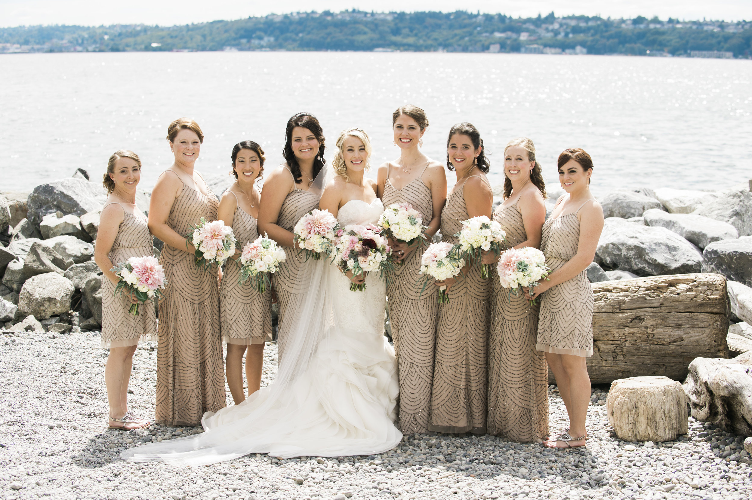 Mauve Bridesmaid Dresses - A Romantic Sodo Park Seattle Wedding - Kimberly Kay Photography
