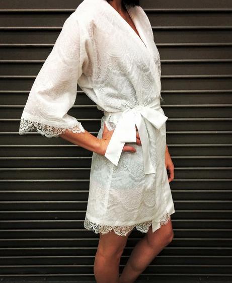 White Lace Bridal Robe - Walkin On Air