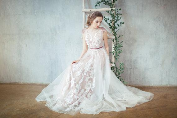 Blush Low Back Wedding Dress