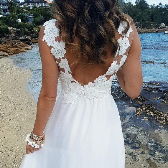 Low Back Beach Wedding Dress