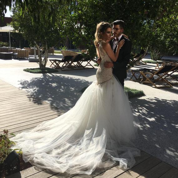 Beaded Mermaid Low Back Wedding Dress