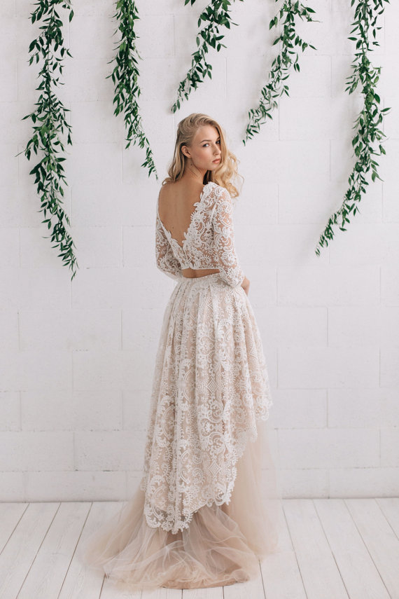 Blush Lace Low Back Wedding Dress