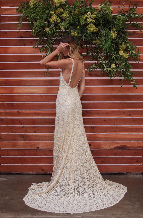 Ivory Lace Low Back Wedding Dress