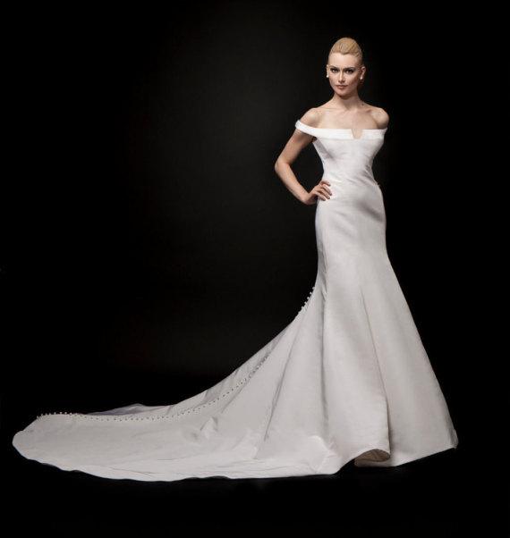 Modern Off Shoulder Low Back Wedding Dress