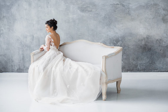 Embellished Long Sleeve Low Back Wedding Dress