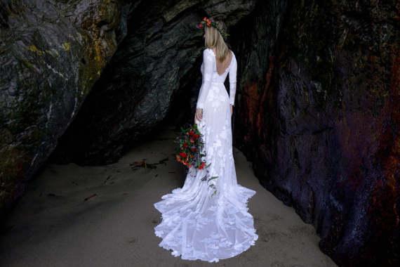 Long Sleeve Boho Low Back Wedding Dress