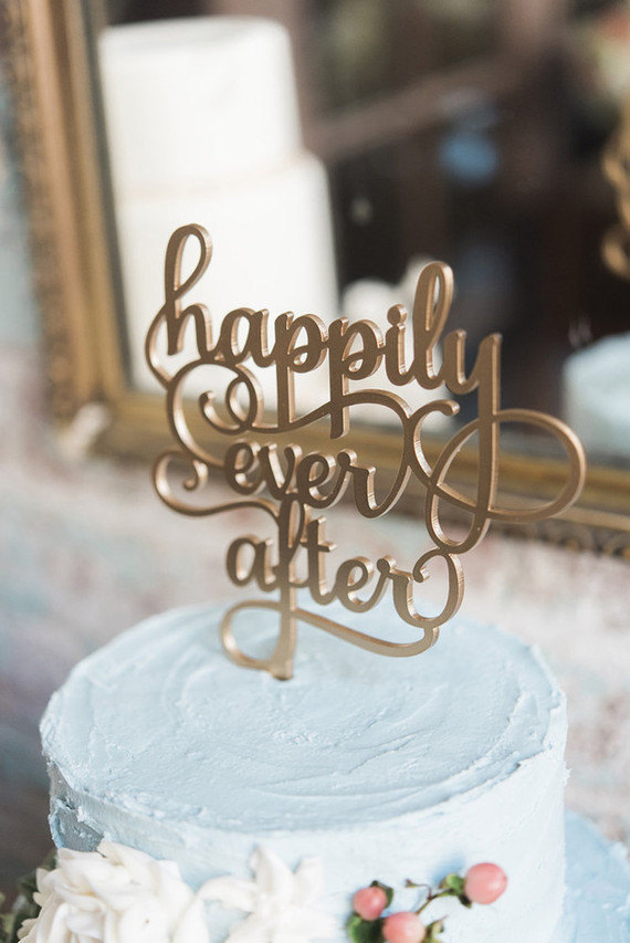 Simple Laser Cut Wedding Cake Toppers - Alicia King Photography