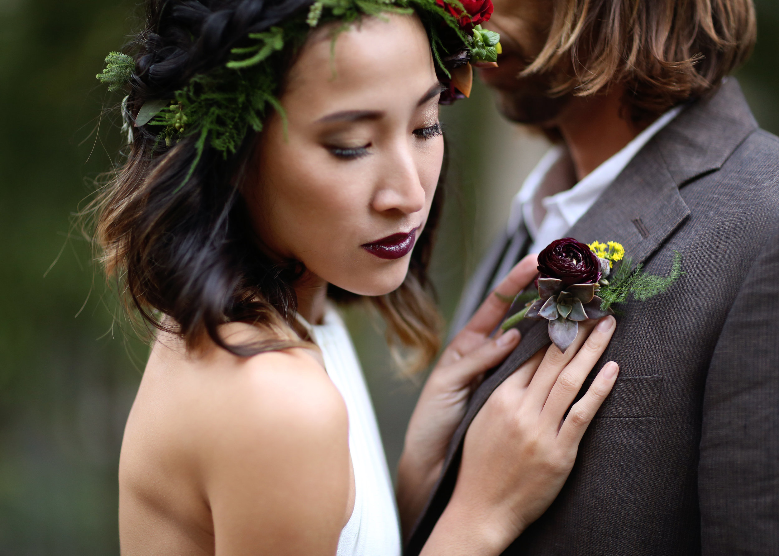 Boho Succulent Boutonniere -A Modern Bohemian Outdoor Wedding Shoot - Bleudog Fotography