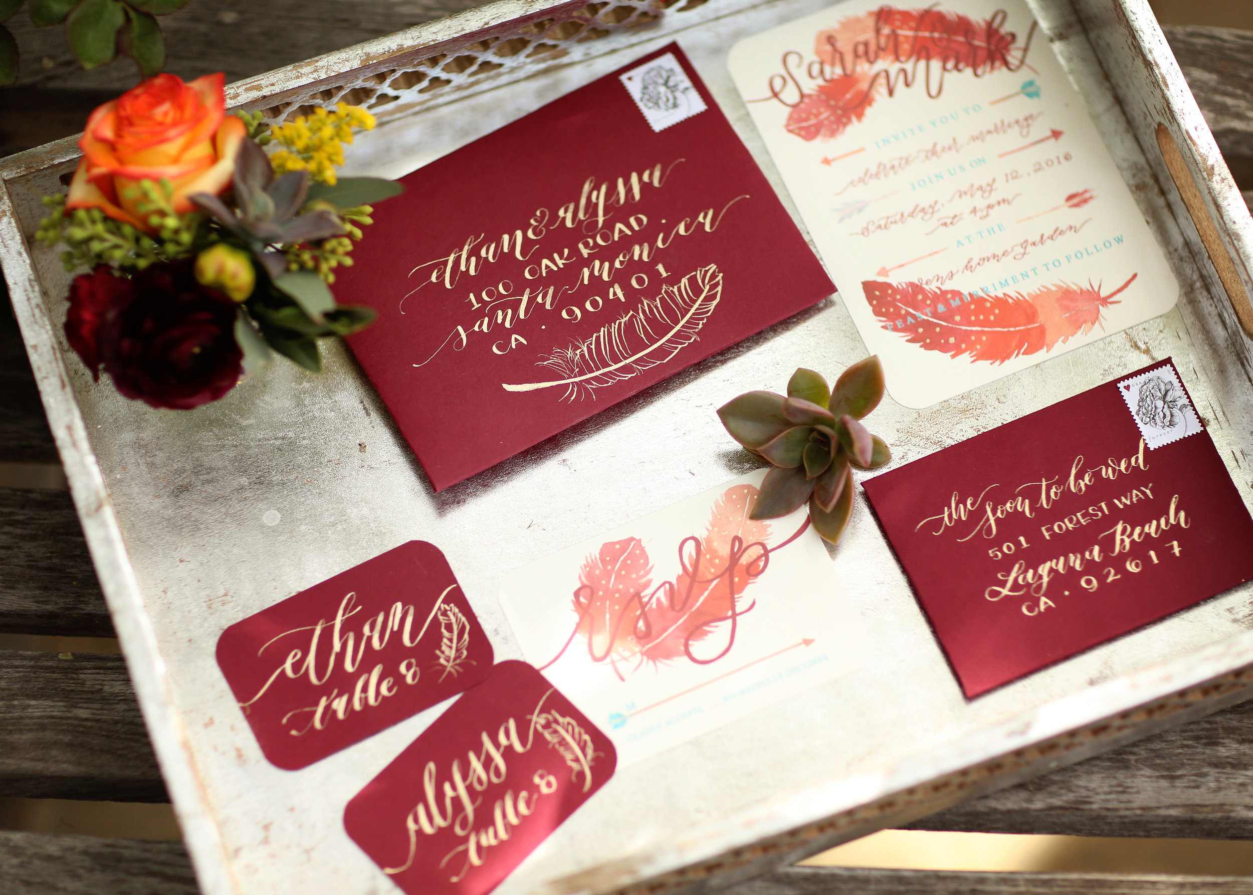 BOHO Wedding Invitations - A Modern Bohemian Outdoor Wedding Shoot - Bleudog Fotography