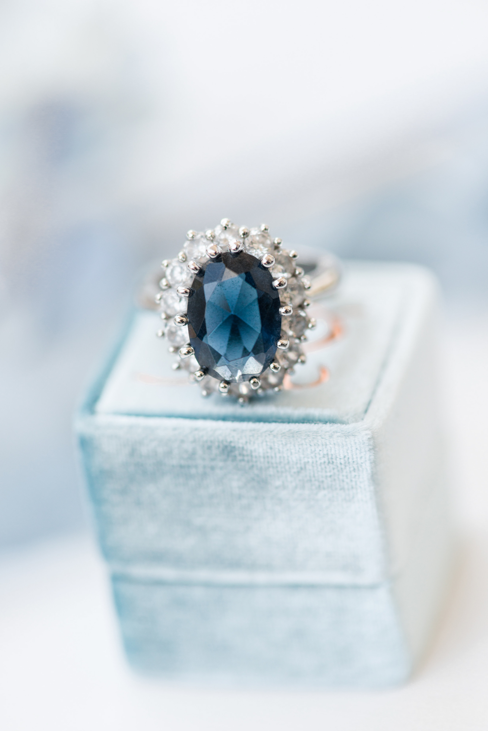 Blue oval halo engagement ring - Blue and Gold Morven Park Styled Virginia Wedding -- JOFFOTO