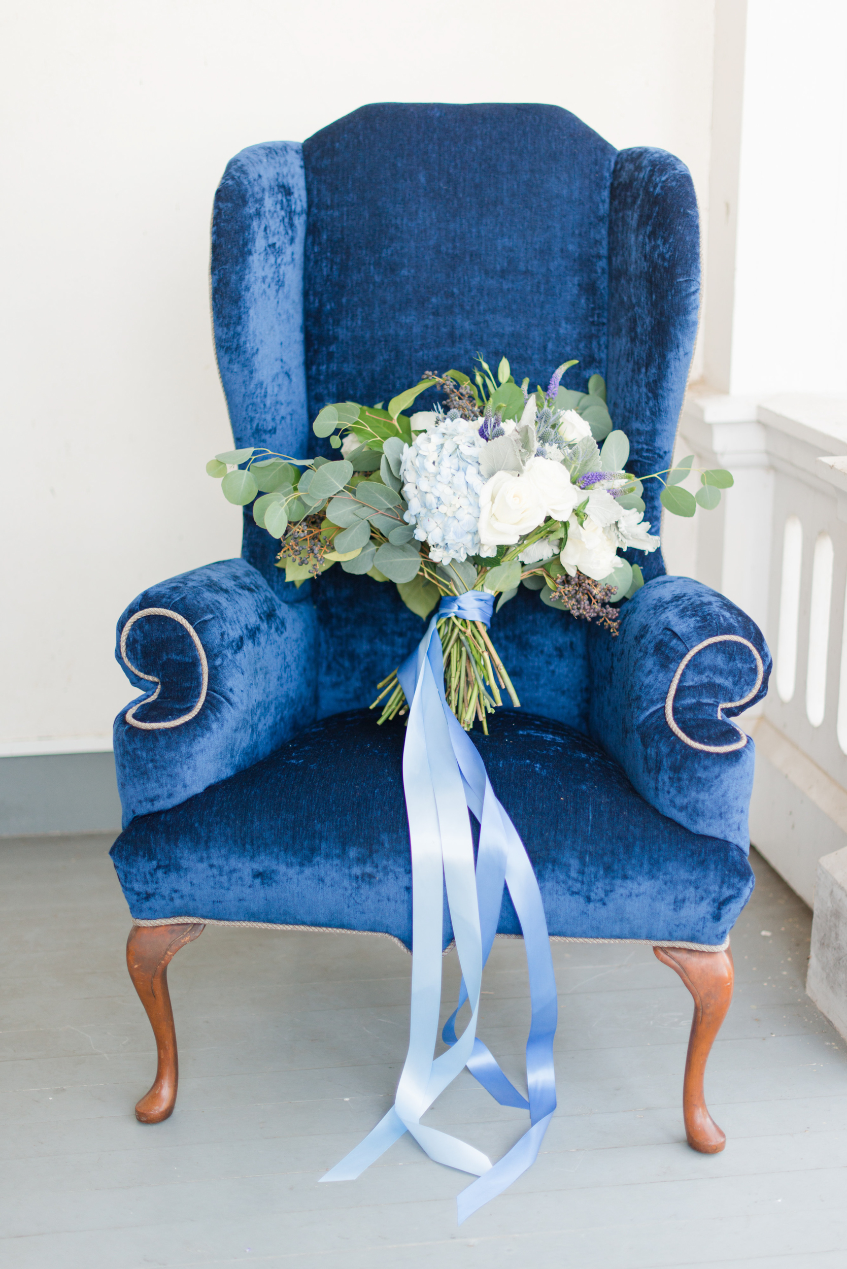 Blue and white full wedding bouquet - Blue and Gold Morven Park Styled Virginia Wedding -- JOFFOTO
