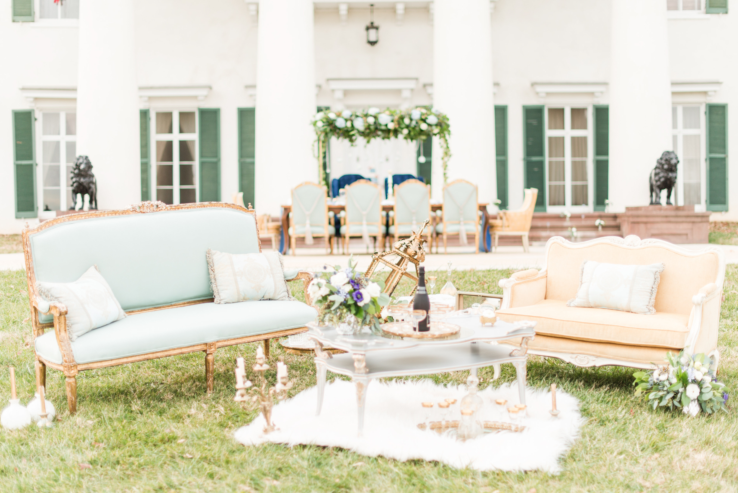 Blue and Gold Morven Park Styled Virginia Wedding -- JOFFOTO