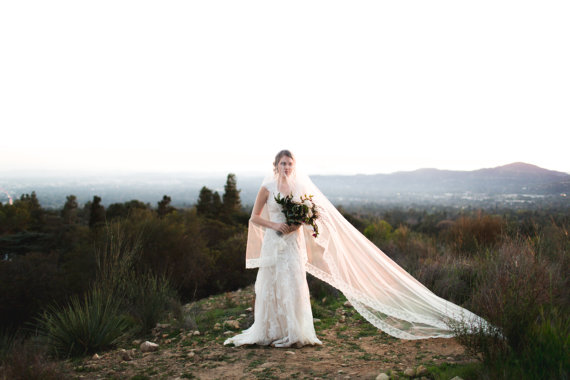 Lace Lined Cathedral Length Long Bridal Veil
