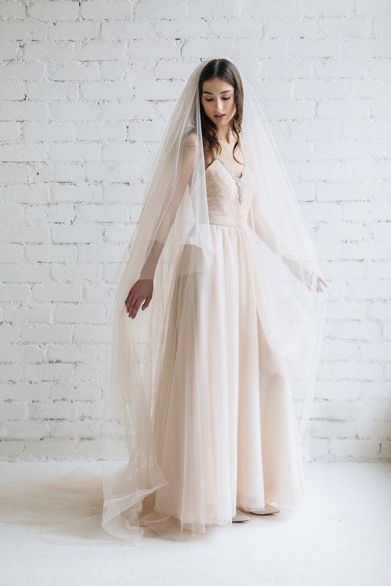 Blush Cathedral Length Long Bridal Veil