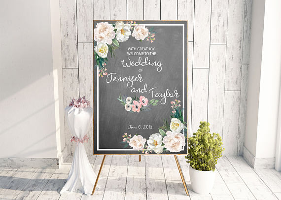 Unique Summer Wedding Signs 1 - chalkboard wedding welcome sign.jpg