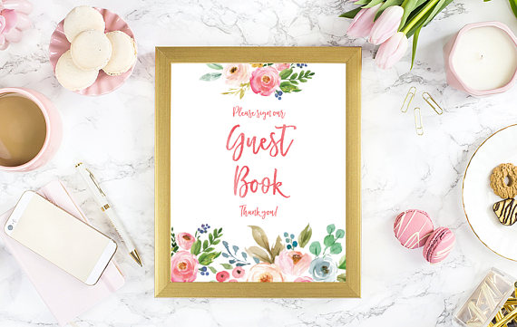 Unique Summer Wedding Signs 14 - floral guest book sign