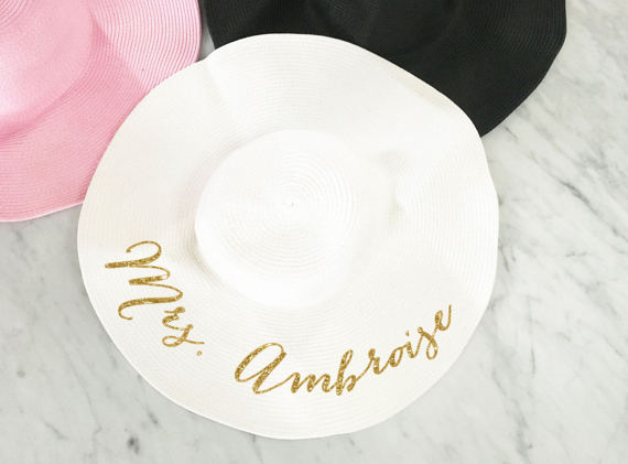Honeymoon Essentials - Honeymoon Personalized Sun Gold Writing Floppy Hat
