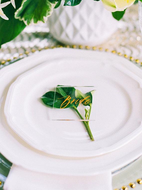 Acrylic Wedding Place Name Cards