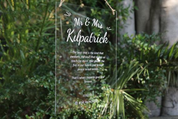 Acrylic Modern Wedding Sign