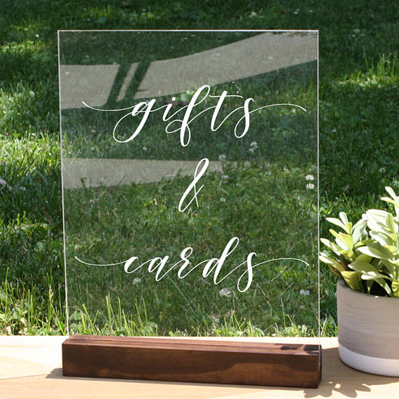 Acrylic Wedding Cards + Gifts Sign