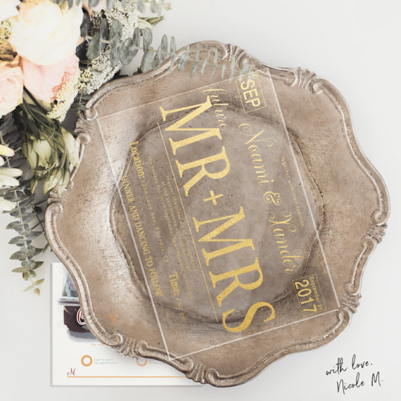 Acrylic Gold Foil Wedding Invitation